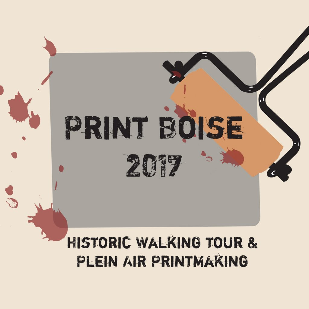 brayer inking gray sidewalk section for Print Boise 2017