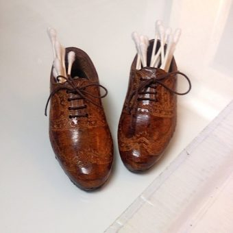Wingtip Press wingtip shoes with Q-tips